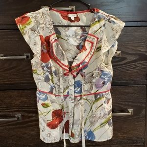 Anthropologie Odille Silk/Cotton Floral Blouse 6